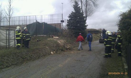 Odstranění nahnutých stromů ohrožující sportovní areál 29.3.2015